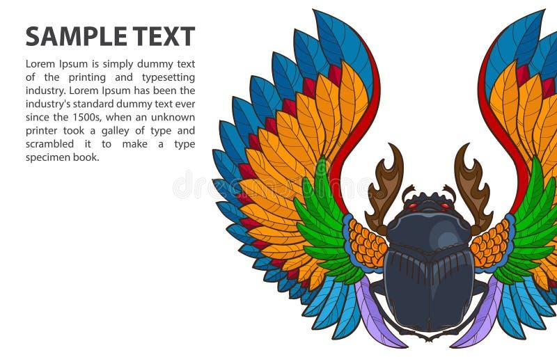 Escarabajo modelado del escarabajo del vector en el fondo blanco con el lugar para el texto libre illustration