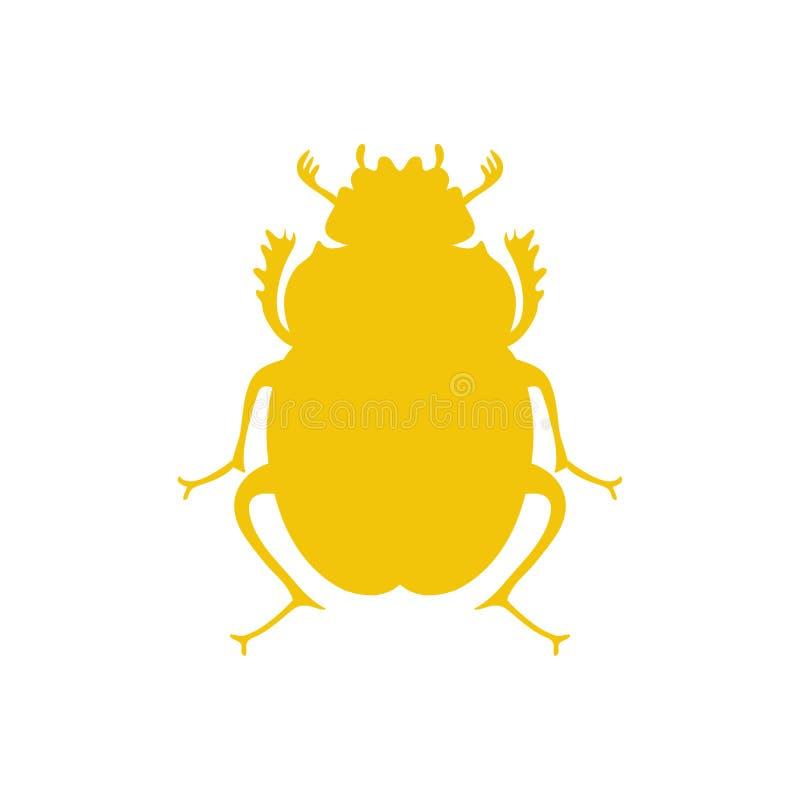 Escarabajo negro del vector, símbolo egipcio Plantilla del logotipo del insecto de la señora libre illustration