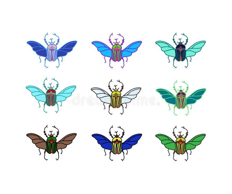 Escarabajos coloreados vector imagen de archivo