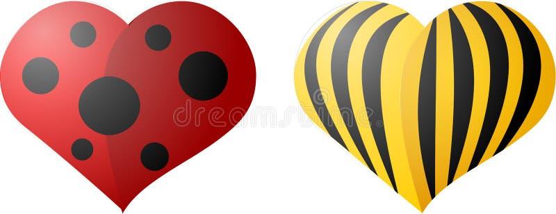 Escarabajos de la tarjeta del día de San Valentín stock de ilustración