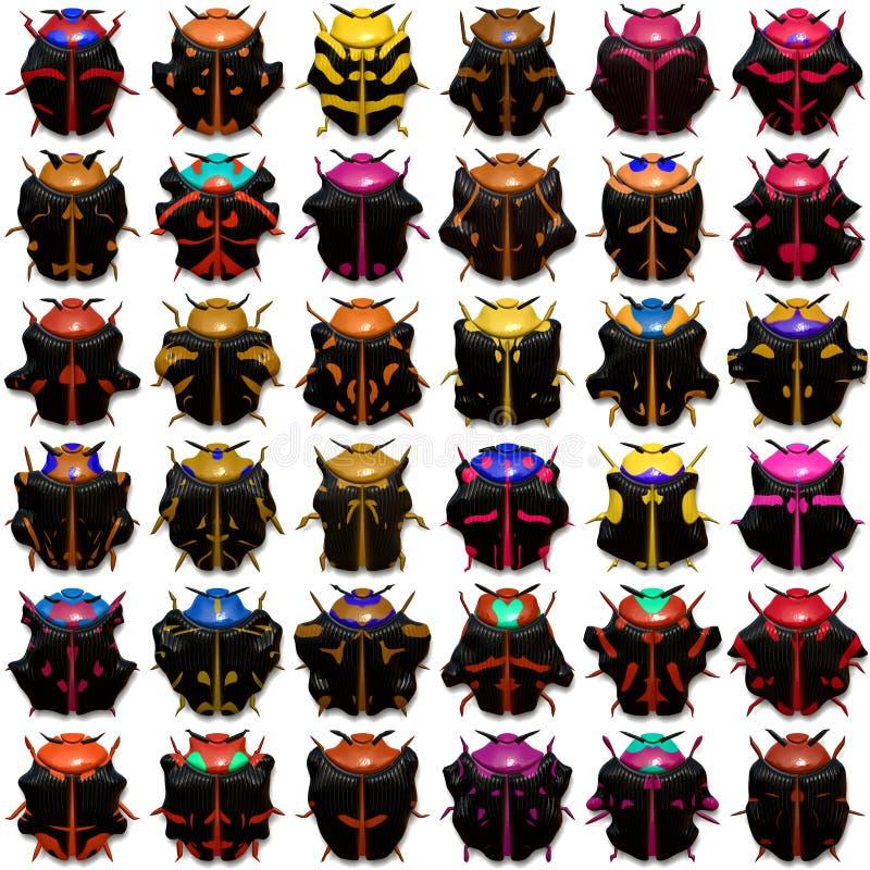 Escarabajos negros stock de ilustración