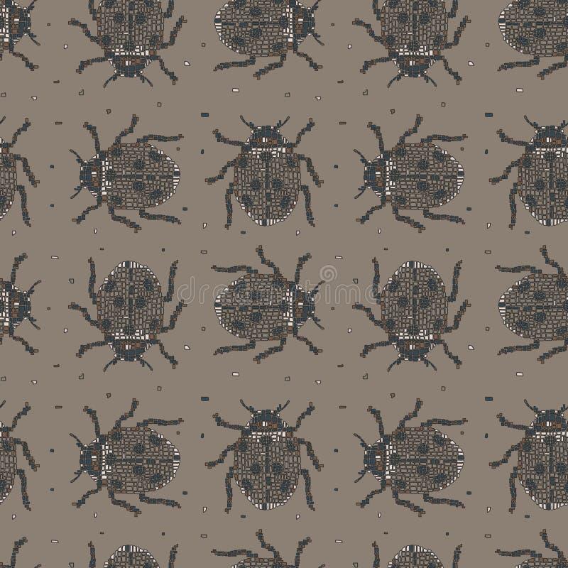Escarabajos texturizados coloreados multi del mosaico en fondo beige stock de ilustración
