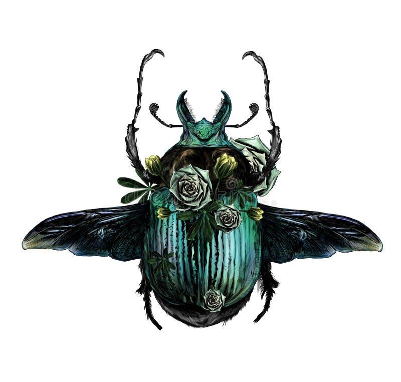 Escaravelho do erro de maio com asas vista superior e cenário de plantas verdes e de flores ilustração royalty free