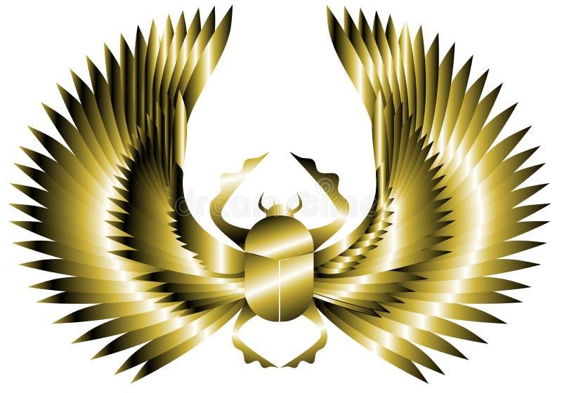 Escaravelho dourado artístico com as asas isoladas ilustração stock