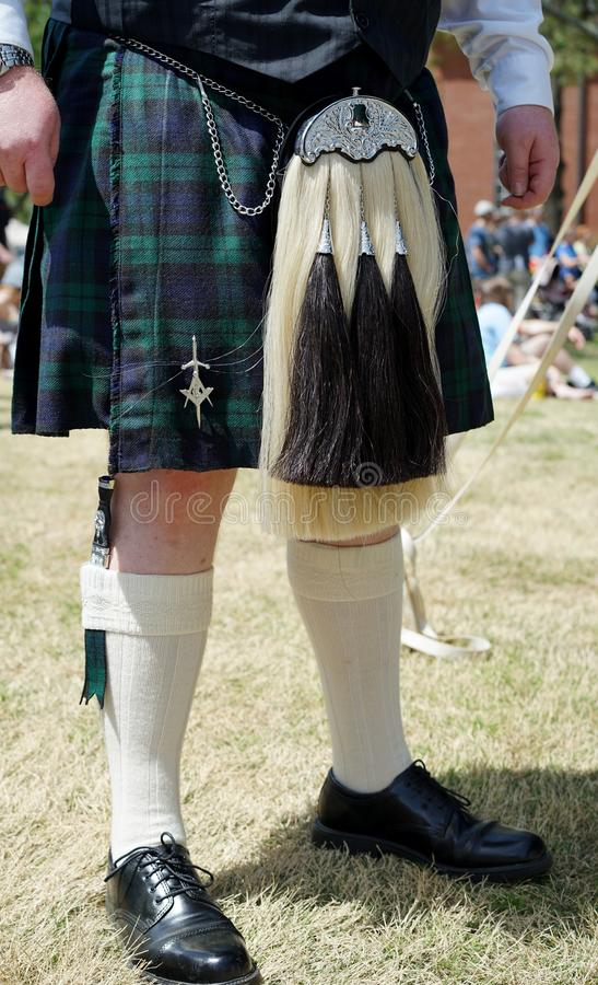 Escarcelle écossais de horsehail de kilt et de robe photographie stock