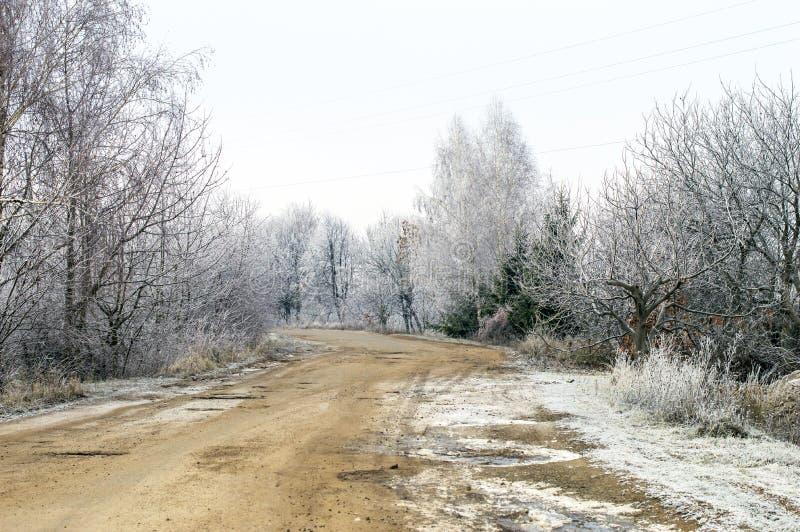 Download Escarcha Blanca En árboles Y El Camino Imagen de archivo - Imagen de ciclón, pantalla: 64200743