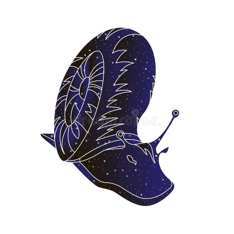 Escargot d'animal familier Illustration animale d'ensemble de vecteur, silhouette de couleur de ciel nocturne d'isolement sur le  illustration stock