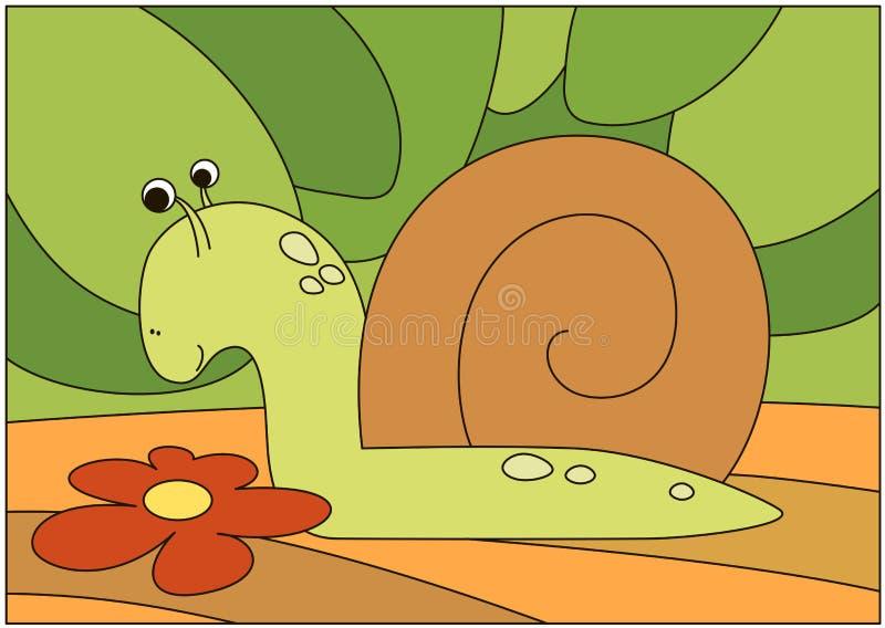Escargot de bande dessinée sur le fond de nature illustration de vecteur