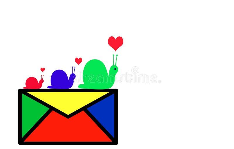 escargot de courrier de logo d'enveloppe illustration stock