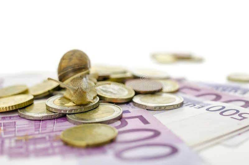 Escargot de jardin sur d'euro pièces de monnaie et billets de banque images stock
