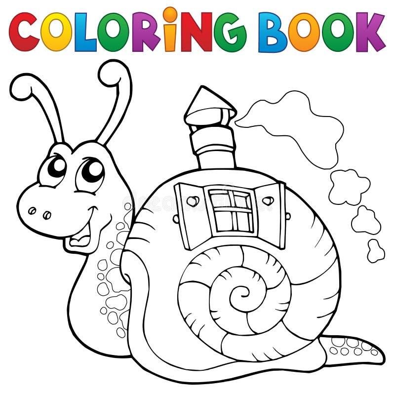 Escargot de livre de coloriage avec la maison de coquille illustration stock