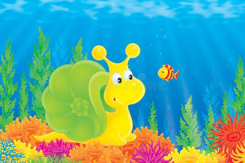 Escargot de mer et poissons de corail illustration de vecteur