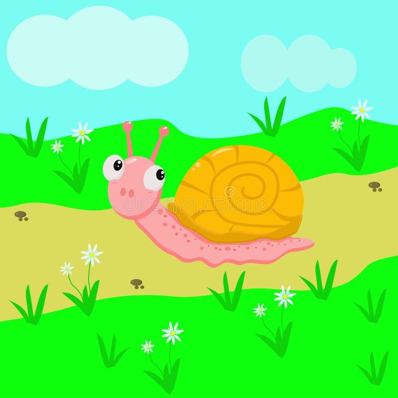 Escargot drôle dans le pré - illustration de vecteur, ENV illustration stock
