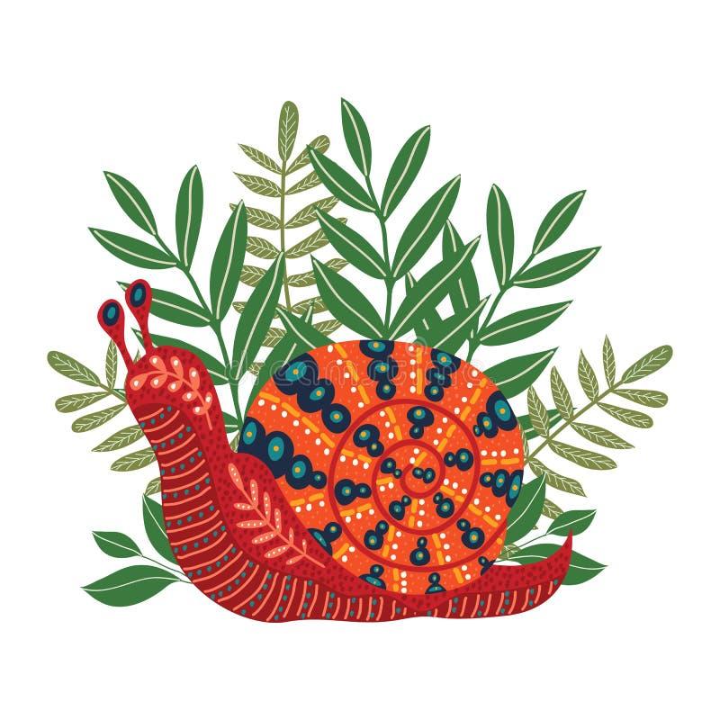 Escargot folklorique mignon de vecteur sur l'herbe D'isolement sur le fond blanc Bel agrafe-art d'escargot pour votre conception illustration stock