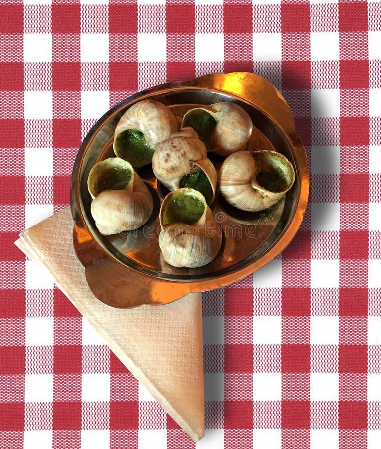 Escargot, Franse delicatesse royalty-vrije stock foto's