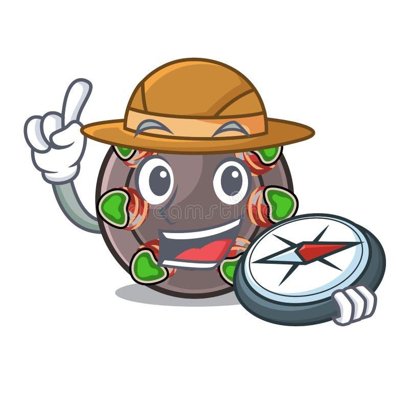 Escargot frit par explorateur dans une casserole chaude de bande dessinée illustration de vecteur