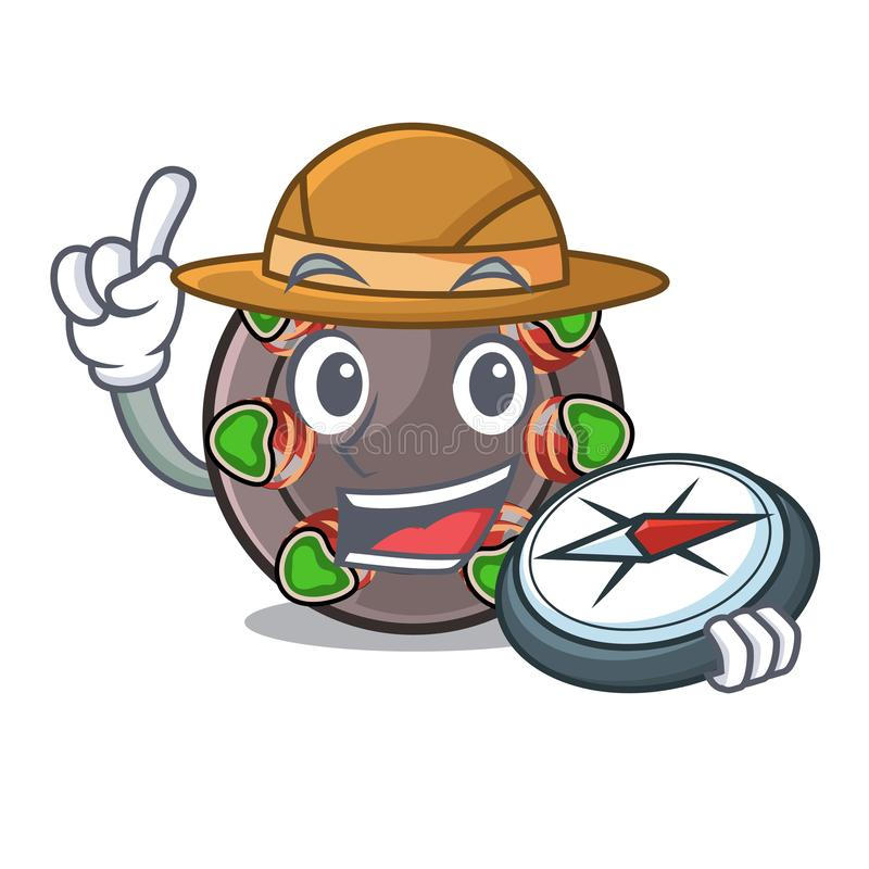 Escargot fritado explorador em uma bandeja quente dos desenhos animados ilustração do vetor