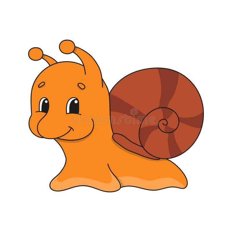 Escargot Illustration plate mignonne de vecteur dans le style pu?ril de bande dessin?e Caract?re dr?le D'isolement sur le fond bl illustration stock