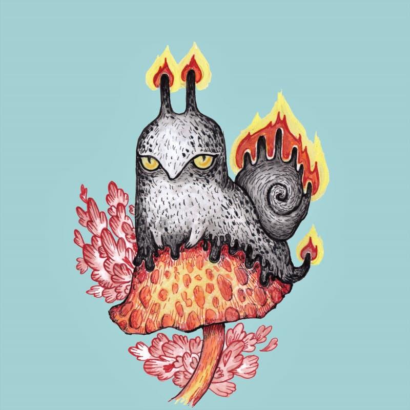 escargot mauvais fâché du feu illustration de vecteur