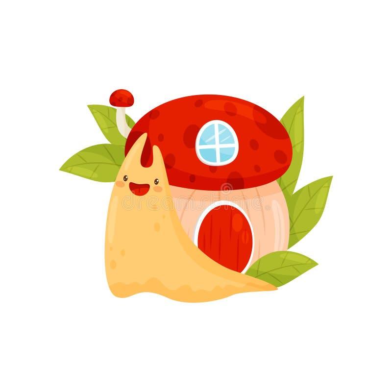 Escargot mignon avec la maison de coquille sur son dos, illustration drôle de vecteur de personnage de dessin animé de mollusque  illustration de vecteur