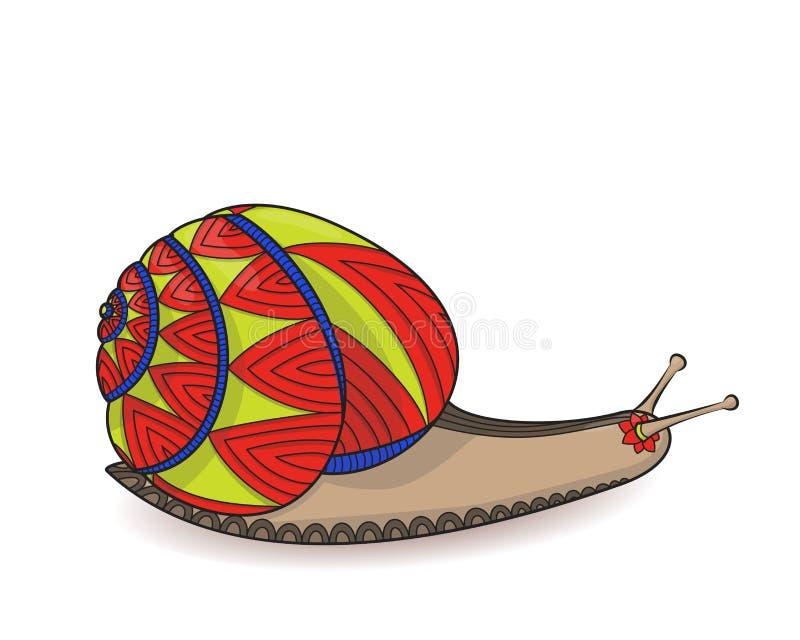 Escargot mignon rouge et jaune Plan rapproché des mollusques d'invertébrés Embrouillement sauvage de zen de la vie illustration libre de droits