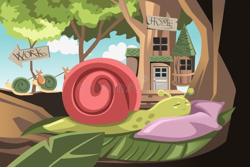 Escargot paresseux illustration de vecteur