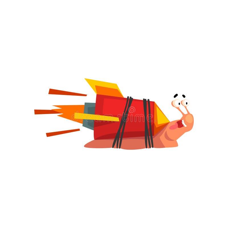 Escargot rapide, caractère drôle de mollusque de bande dessinée avec l'illustration de vecteur de propulseur de vitesse de fusée  illustration de vecteur
