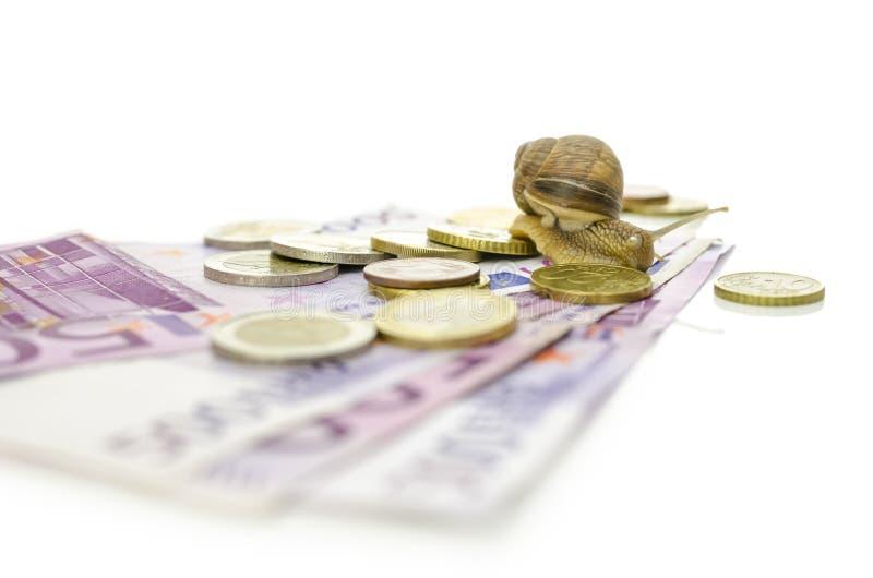Escargot sur d'euro pièces de monnaie et billets de banque. image libre de droits