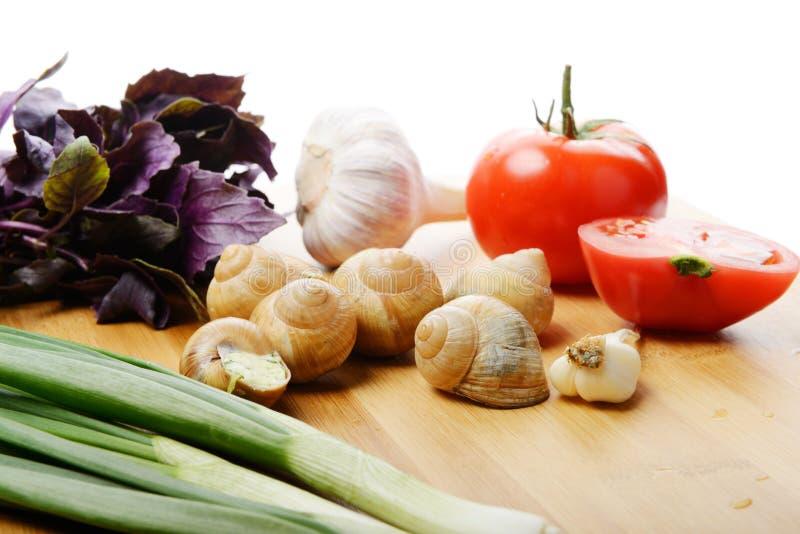Escargots cuits au four image libre de droits
