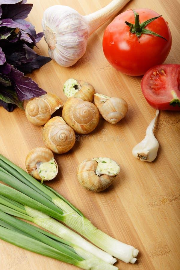 Escargots cuits au four photos libres de droits