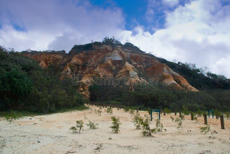 Escarpa grande de la roca de fondo, Fraser Island imagen de archivo