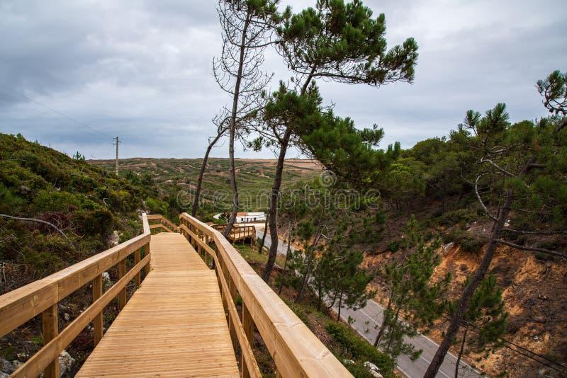 Escarpas人行桥在托雷斯韦德拉什葡萄牙 免版税库存图片