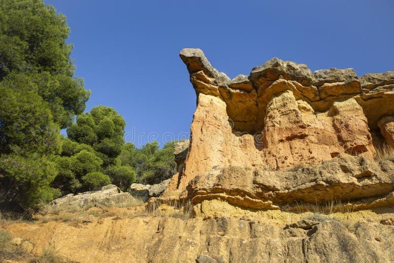 Escarpment szczegół obok Anento wioski obraz royalty free