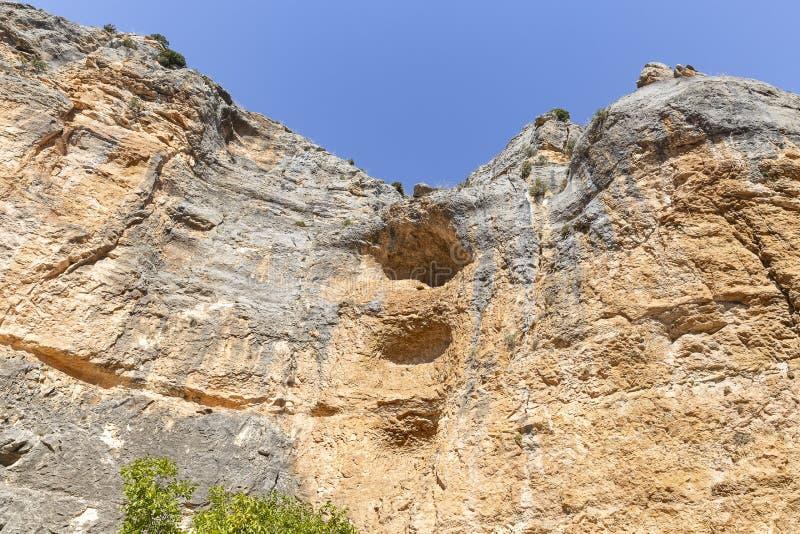 Escarpment szczeg?? przy Barranco De Los angeles Hoz Seca jarem obok Jaraba obraz stock
