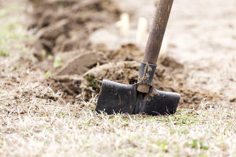 Escavação no jardim home imagens de stock