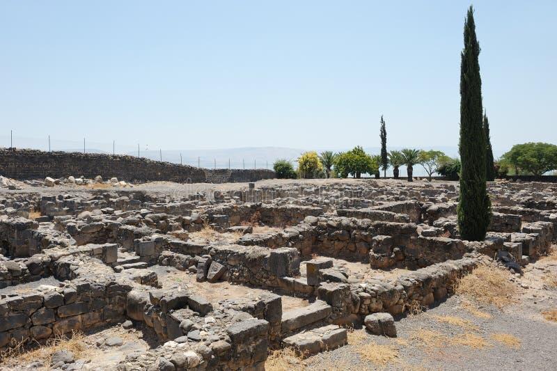 Escavações da cidade antiga de Capernaum imagens de stock
