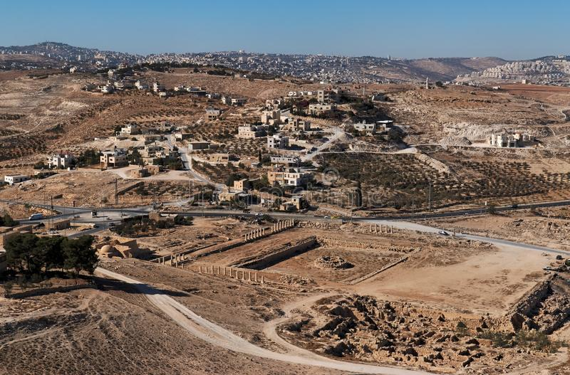 Escavações e vila árabe perto do ancie foto de stock royalty free