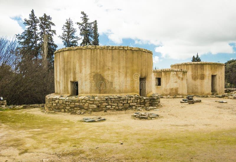 Escavações pré-históricas de Choirocoitia Khirokitia do pagamento Larnaca, Chipre fotografia de stock royalty free