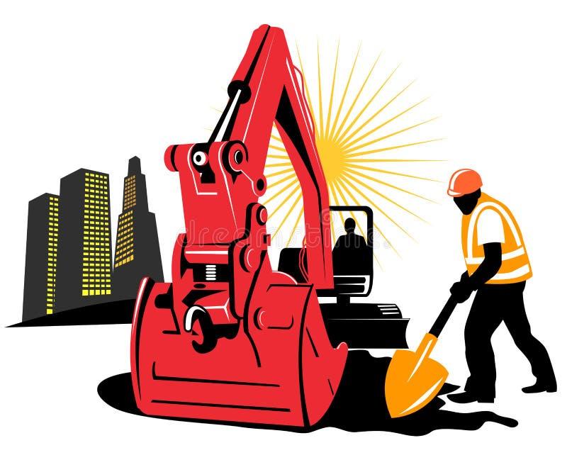 Escavador mecânico ilustração do vetor