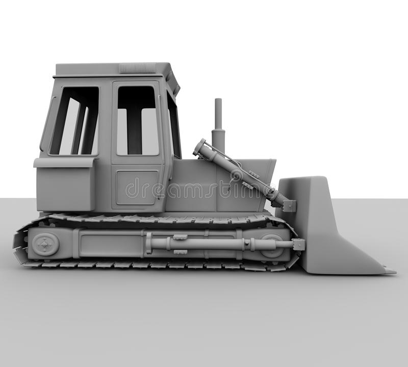 escavadora 3d isolada no fundo branco ilustração do vetor