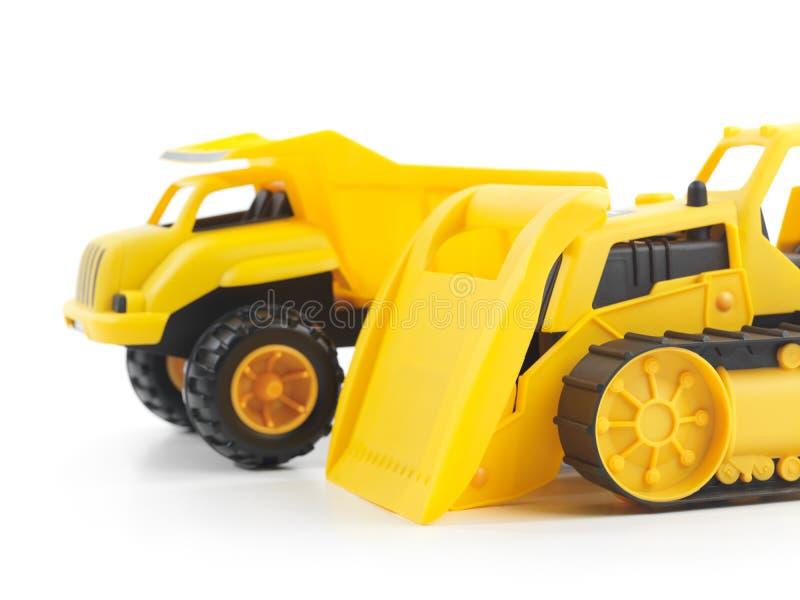 Escavadora e caminhão basculante do brinquedo foto de stock