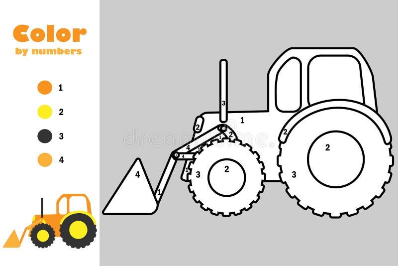Escavadora no estilo dos desenhos animados, cor pelo número, jogo do papel da educação para o desenvolvimento das crianças, págin ilustração stock