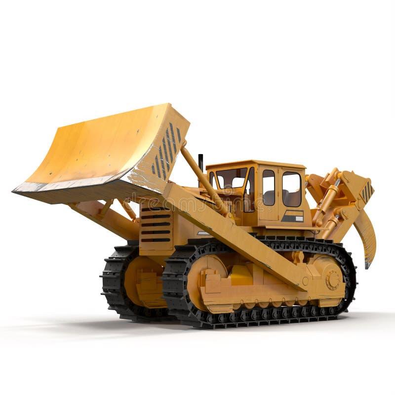 Escavadora resistente isolada na ilustração 3D branca ilustração royalty free