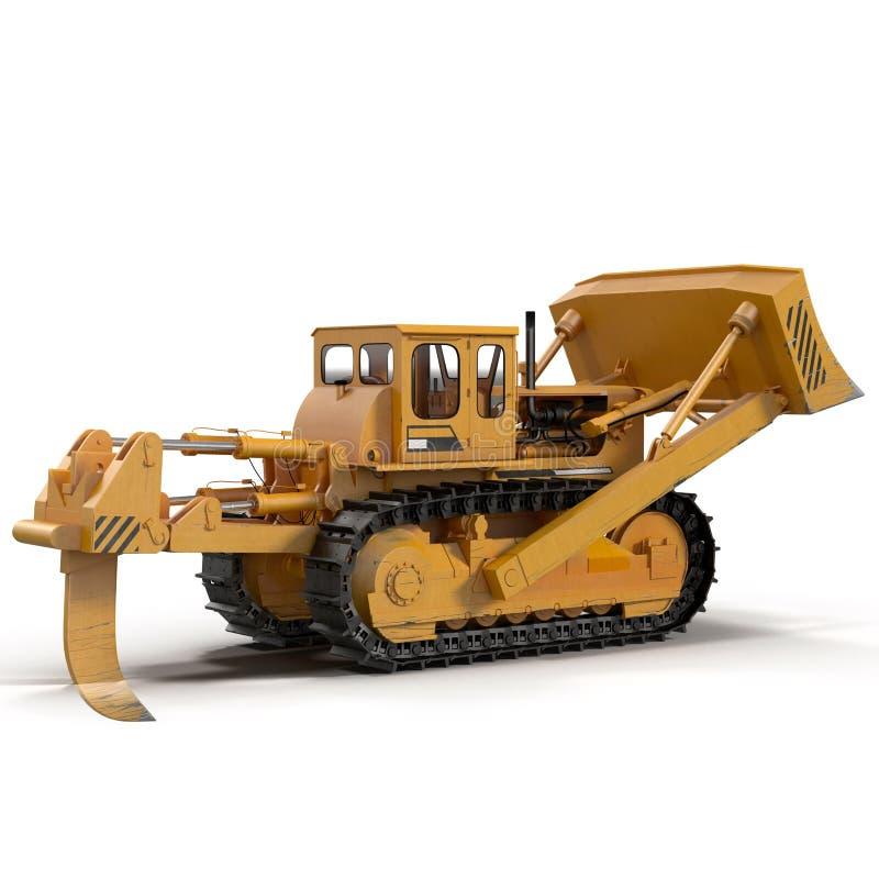 Escavadora resistente isolada na ilustração 3D branca ilustração stock