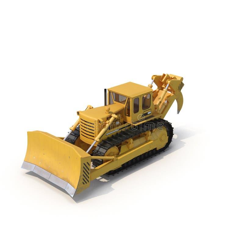 Escavadora resistente isolada na ilustração 3D branca ilustração do vetor