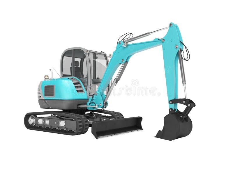 Escavatore blu del macchinario di costruzione con mechlopatoy idraulico sul cingolo con il secchio 3d non rendere su fondo bianco illustrazione vettoriale