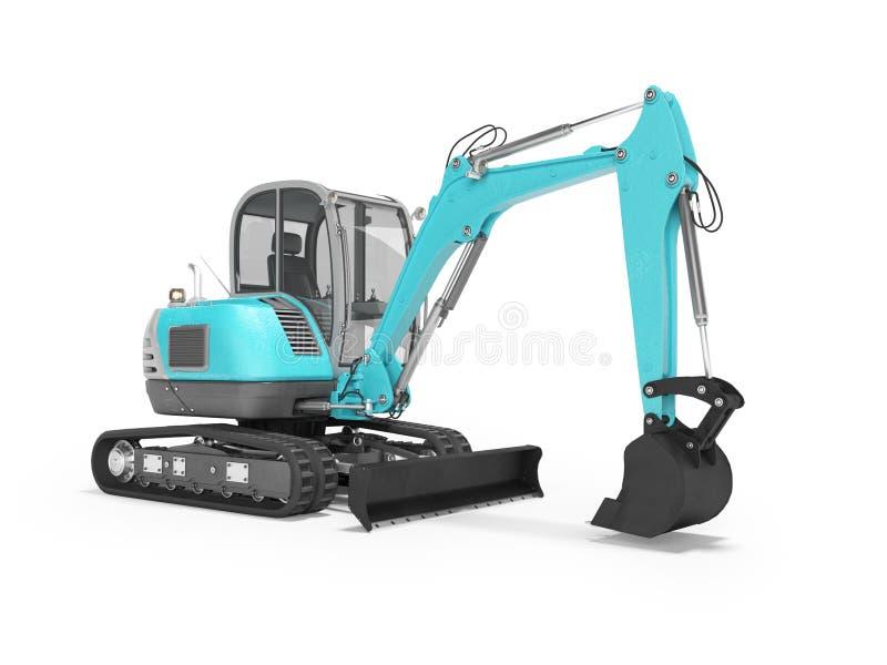Escavatore blu del macchinario di costruzione con mechlopatoy idraulico sul cingolo con il secchio 3d rendere su fondo bianco con illustrazione vettoriale