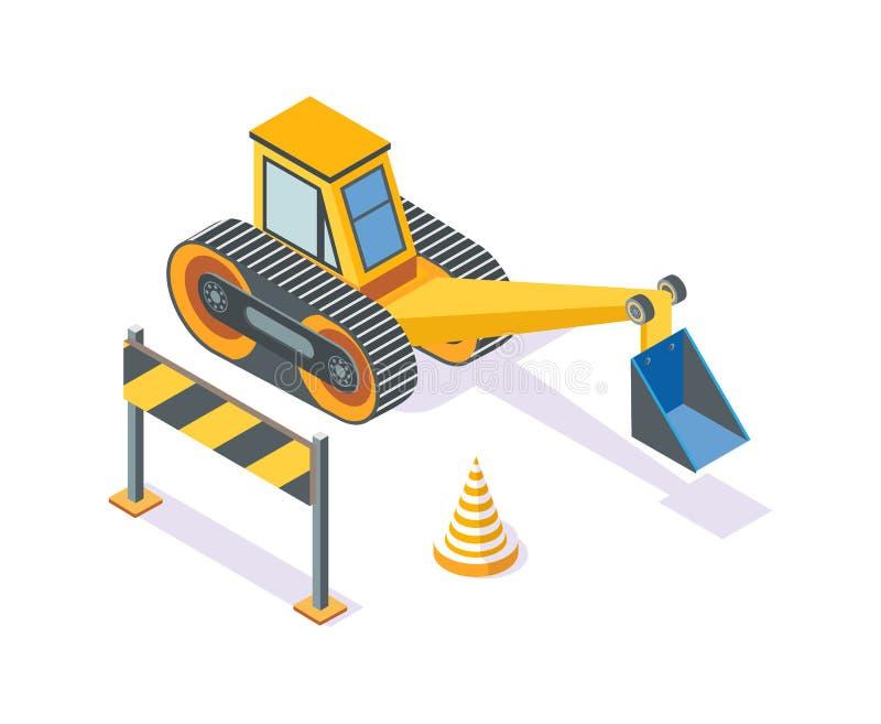 Escavatore, cono di plastica della strada e supporto di legno illustrazione vettoriale