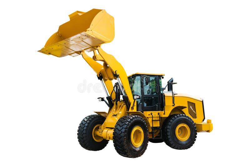 Escavatore del bulldozer o del caricatore, isolato su fondo bianco con fotografia stock libera da diritti
