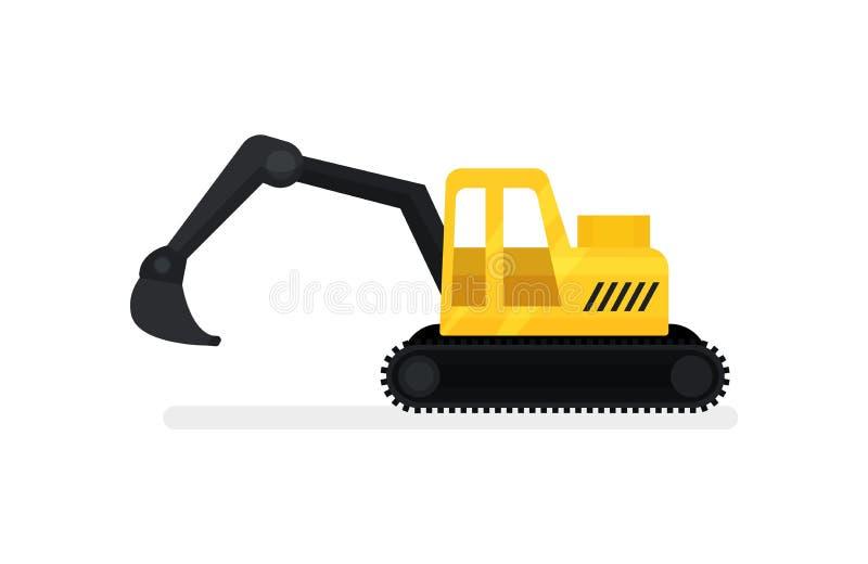 Escavatore del cingolo con il secchio Attrezzatura pesante di construstion Macchina di scavatura Icona piana di vettore illustrazione di stock